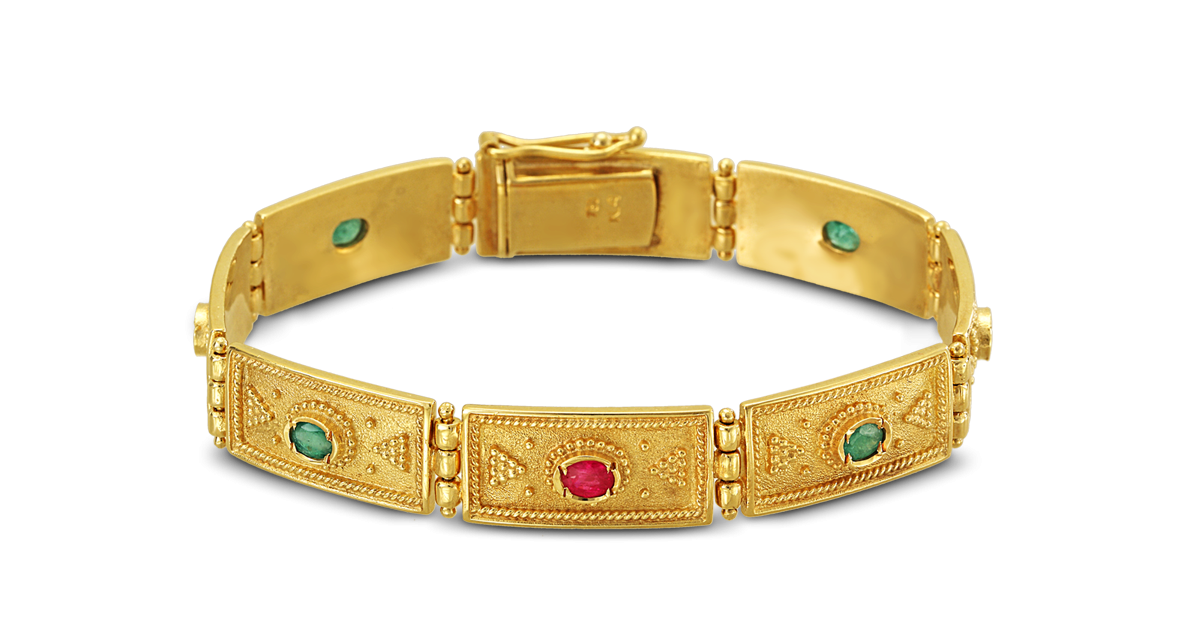 Byzantine Bracelet with Emeralds and Rubbies