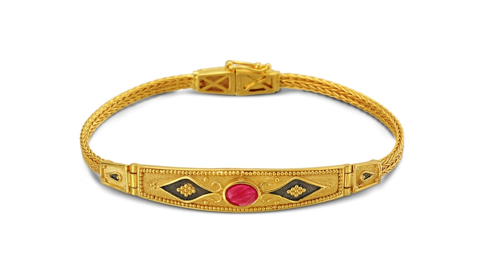 Byzantine Bracelet with Handwoven Chain