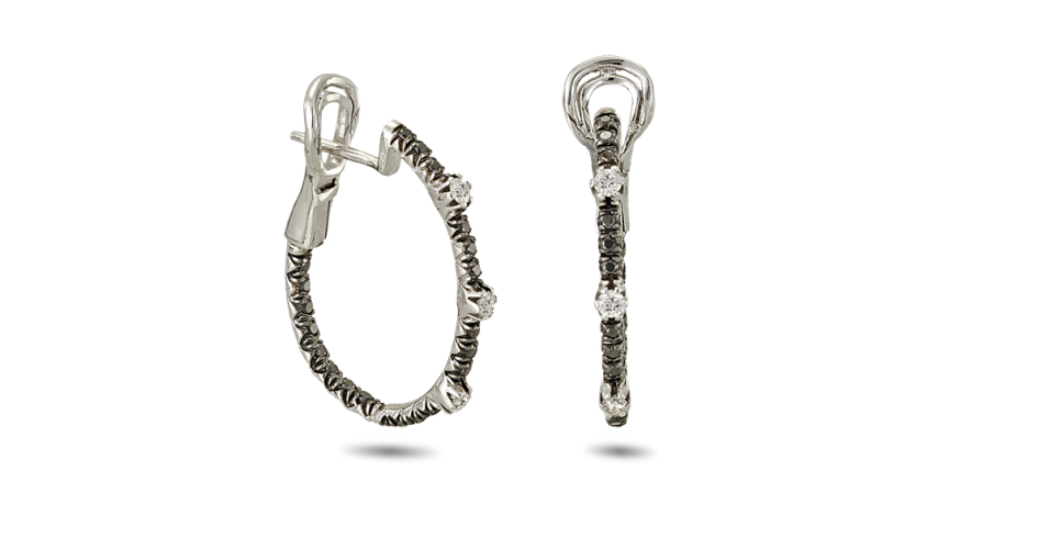 Earrings with White and Black Diamonds