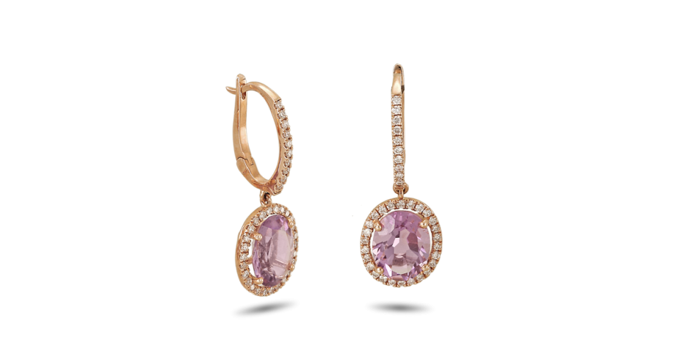 Rose Gold Earrings with Diamonds and Amethyst