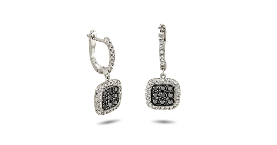Earrings with Black and White Diamonds