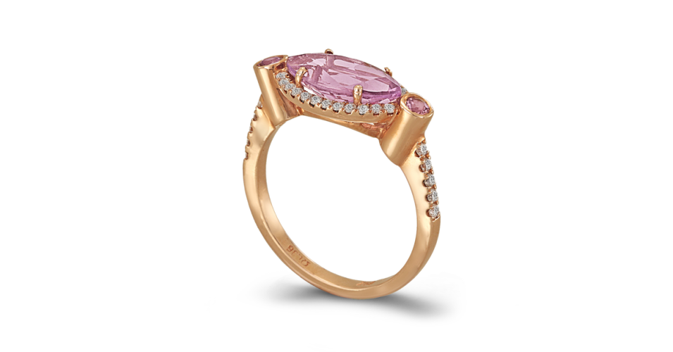 Rose Gold Ring with Amethyst and Diamonds
