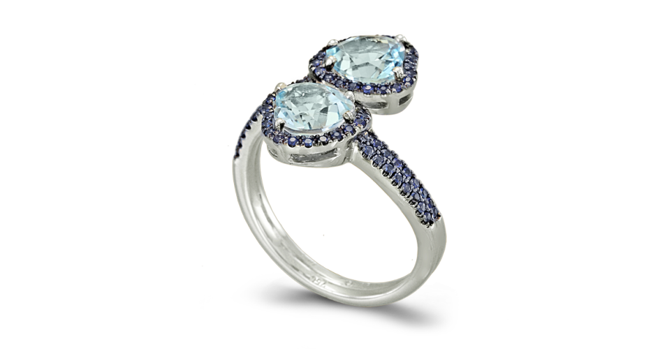Ring with Blue Topaz and Sapphires