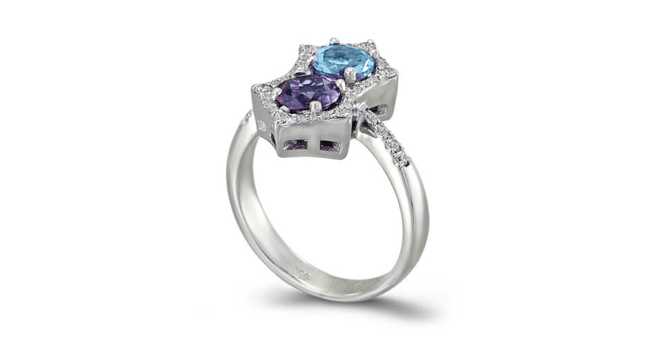 Diamond Ring with Aquamarine and Iolite