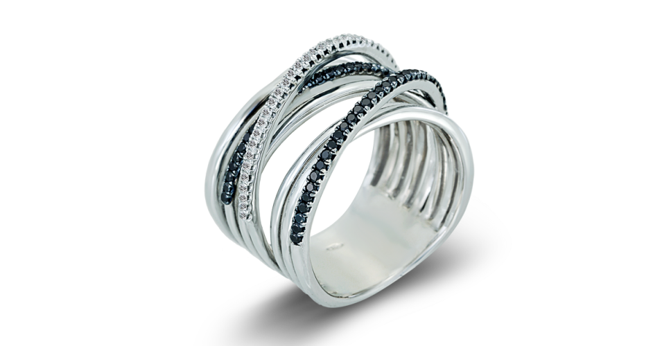 Modern ring with white and black diamonds