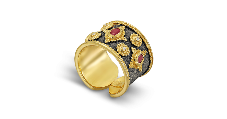 Byzantine Ring with Rubbies and Diamonds
