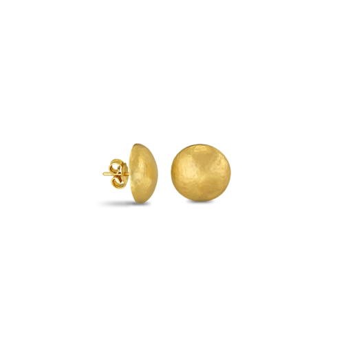 Hammered gold button earrings