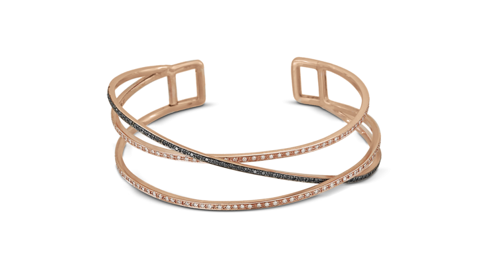 Rose Gold Bracelet with Black and Brown Diamonds