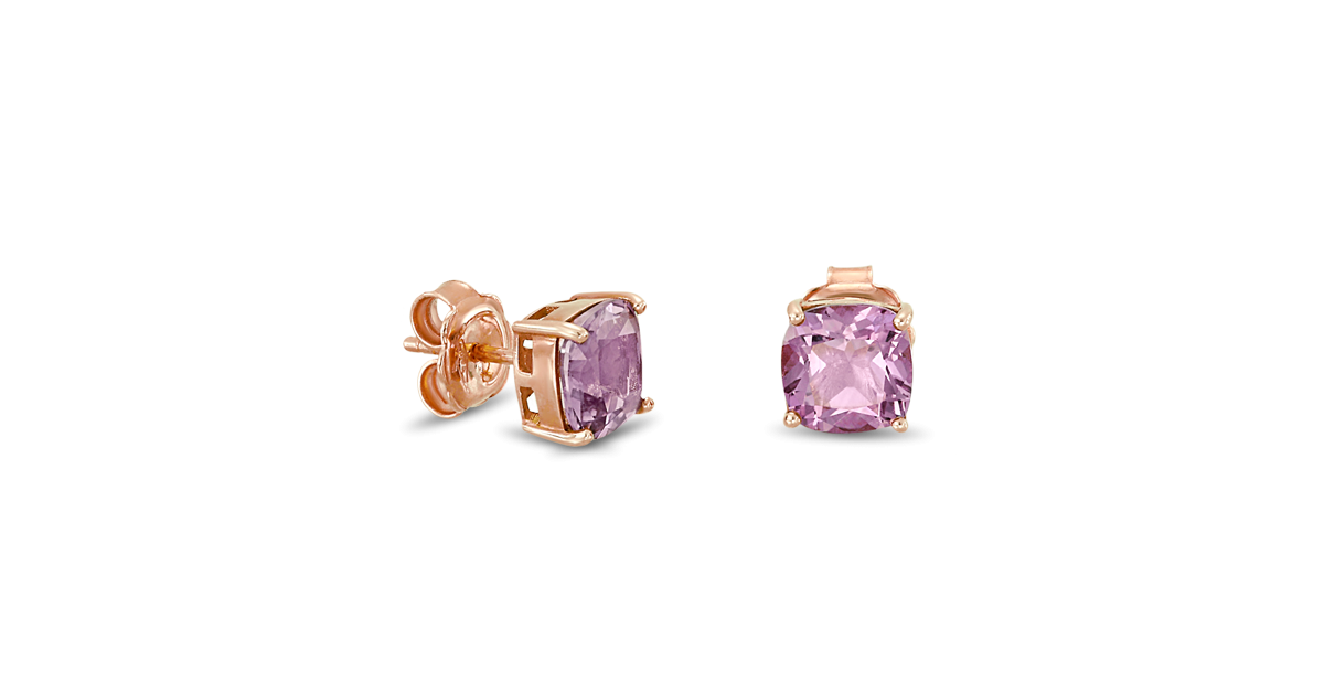 Rose Gold Earrings with Amethyst