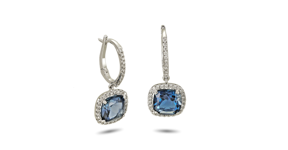 White Gold Earrings with Diamonds and London Blue Topaz
