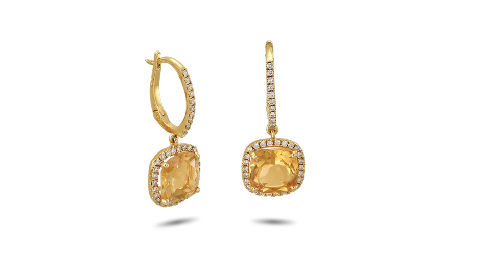 Yellow Gold Earrings with Diamonds and Citrine