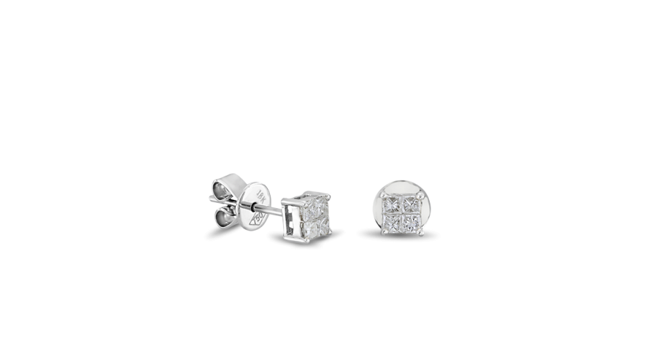 Square Earrings with Diamonds