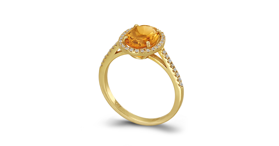 Ring with Citrine and Diamonds