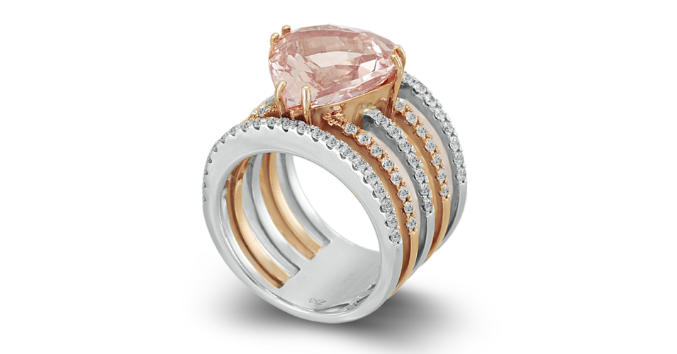 "Diamond Ring with Morganite ""Heart"""