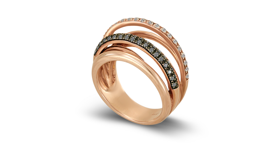 Rose Gold Ring with White and Black Diamonds