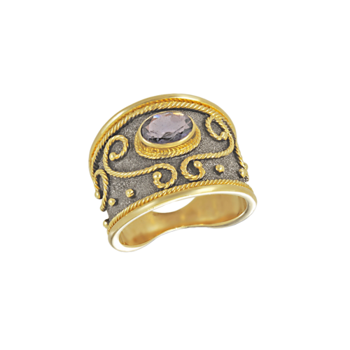 Dark black Byzantine ring