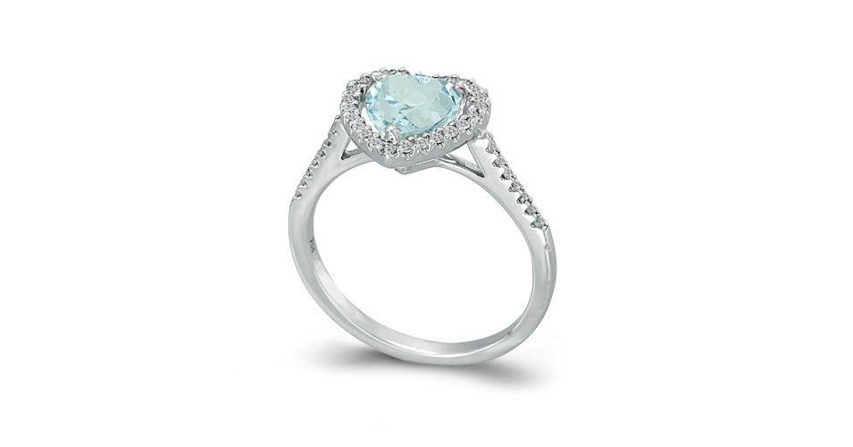 Heart Cut Blue Topaz Ring with Diamonds